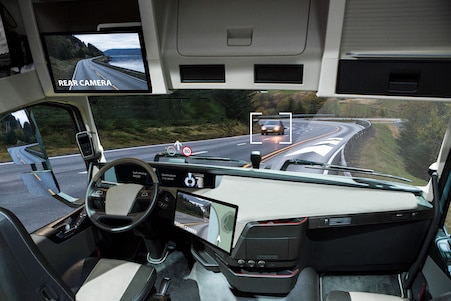 Semi truck with advanced technology in the interior