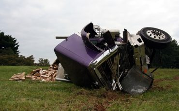 Front-crashed semi truck